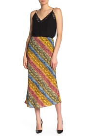 Know One Cares Colorblock Snake Print Midi Skirt