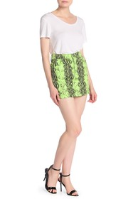 Know One Cares Neon Snake Print Mini Skirt