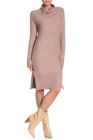 Solutions Cowl Neck Ribbed Sweater Dress