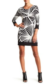 Papillon 3/4 Sleeve Printed Sweater Dress