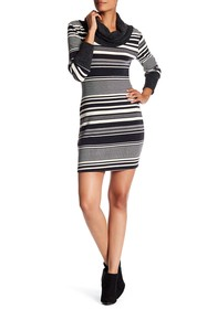 Papillon Cowl Neck Striped Sweater Dress