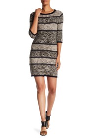 Papillon Animal Print Panel Sweater Dress