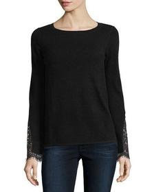 Neiman Marcus Cashmere Collection Lace-Cuff Cashme