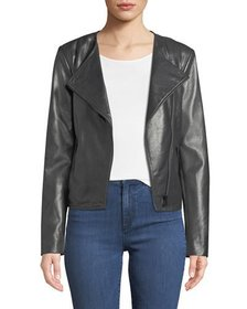 Neiman Marcus Leather Collection Asymmetric-Zip Le