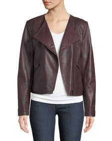 Neiman Marcus Leather Collection Asymmetric-Zip La