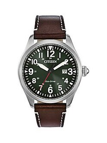 Citizen Garrison Stainless Steel & Leather-Strap W