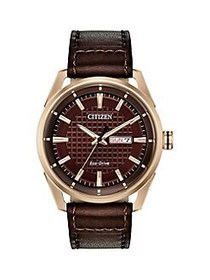 Citizen Drive Rose Goldtone Stainless Steel & Leat