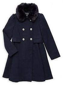 Rothschild Girl's Faux Fur-Trimmed Coat MIDNIGHT