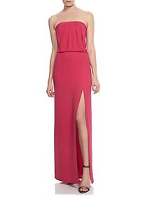 Halston Strapless Draped Gown CARNATION