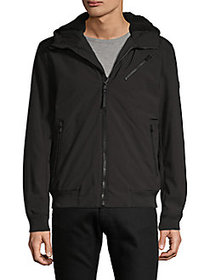Michael Kors Faux Fur-Lined Zip-Up Jacket BLACK