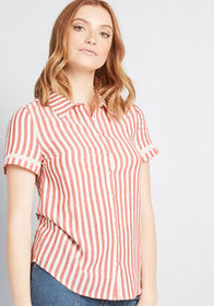 ModCloth ModCloth Matter of Fact Button-Up Top Red