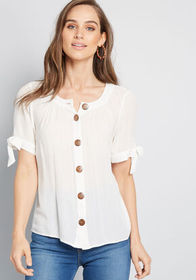 ModCloth ModCloth Flowy Moment Buttoned Blouse Whi