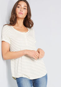 ModCloth ModCloth Feeling Friendly Henley Top Whit