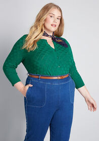 ModCloth Textured Transformation Cardigan in Green