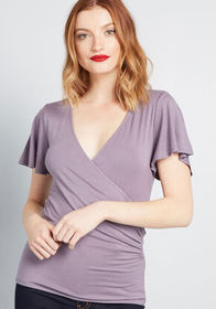 ModCloth ModCloth Lovely Day Flutter Sleeve Top Pu