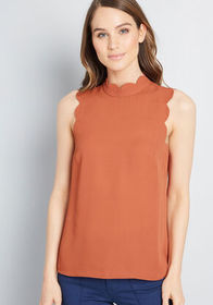 ModCloth Outstanding Scallops Sleeveless Blouse in