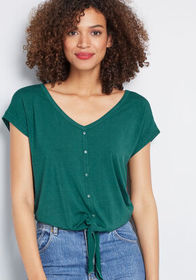 ModCloth Timely Arrival Tie Waist Top Green