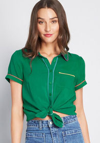 ModCloth Primary Pick Collared Blouse in Green