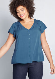 ModCloth Motivating Ways Button-Up Top in Blue