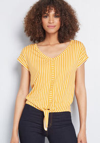 ModCloth ModCloth Timely Arrival Tie Waist Top Yel
