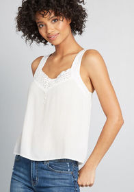 ModCloth ModCloth Simple Wonders Woven Tank Top Wh