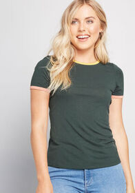 ModCloth ModCloth Liking Your Piping Ringer Tee Gr