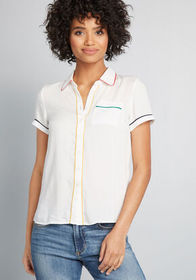 ModCloth ModCloth Primary Pick Collared Blouse Ivo