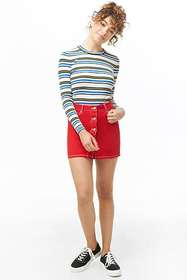 Forever21 Striped Sweater-Knit Top
