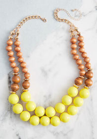 Bold Babe Beaded Necklace Yellow