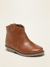 Faux-Leather Western Booties for Toddler Girls