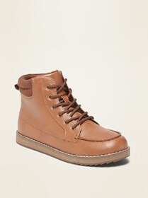 Faux-Leather Moccasin Boots for Boys