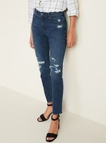 High-Waisted Distressed Power Slim Straight Ankle
