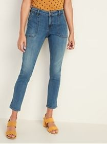 Mid-Rise Utility Rockstar Ankle Jeans for Women