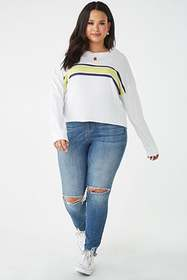 Forever21 Plus Size Rolled-Hem Striped Top