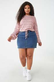 Forever21 Plus Size Striped Peasant Sleeve Top