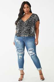 Forever21 Plus Size Crinkled Cheetah Print Top