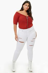 Forever21 Plus Size Zippered Off-the-Shoulder Top