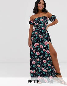 Parisian Petite off shoulder maxi dress in navy fl