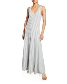 Joan Vass Plus Size Striped Sleeveless V-Neck Maxi