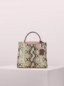 fleur embossed snake medium top handle satchel