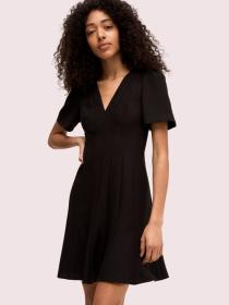 paneled crepe a-line dress