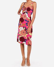 Express floral tie front midi dress