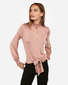 Express smocked mock neck tie front top