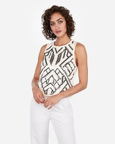 Express chevron sequin embellished tank top