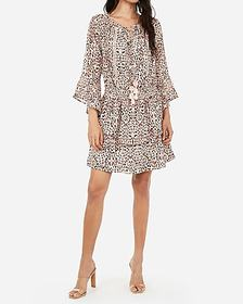 Express leopard smocked chiffon fit and flare dres