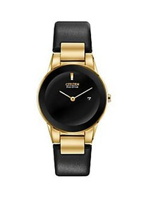 Citizen Axiom Goldtone Stainless Steel & Leather-S