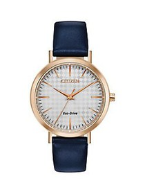 Citizen Drive Goldtone Stainless Steel & Leather-S