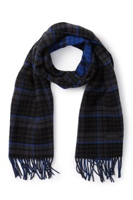 BOSS Plaid Print Fringe Scarf