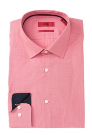 BOSS Michael Textured Solid Trim Fit Dress Shirt