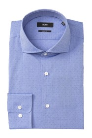 BOSS Mark Trim Fit Dobby Dot Dress Shirt